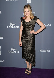 Chloe Moretz wore this forest green crepe dress to the Costume Designers Guild Awards.
