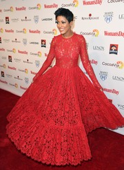 Tamron Hall looked mesmerizing in a scarlet lace ball gown at the Woman's Day Red Dress Awards.