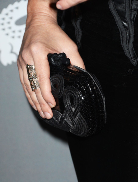Madeleine Stowe opted for a classic black clutch to match her black gown at the Costume Designers Guild Awards.