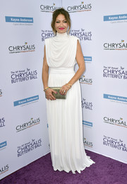 Rebecca Gayheart channeled her inner Greek goddess in a draped white Derek Lam gown at the Chrysalis Butterfly Ball.