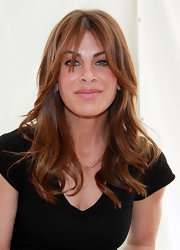 Jillian Michaels wore her hair in a chic wavy style with bangs at the Los Angeles Times Festival of Books.