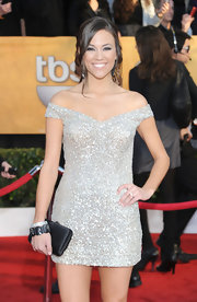 Jana Kramer sparkled on the red carpet at the 16th Annual Screen Actors Guild Awards in an off-the-shoulder silver beaded mini dress.