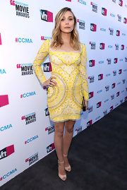 Elizabeth Olsen donned an embroidered sunshine yellow dress to the Critics' Choice Awards.