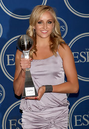 Nastia Liukin's subtle cuff bracelet happened to match her ESPY Awards trophy.