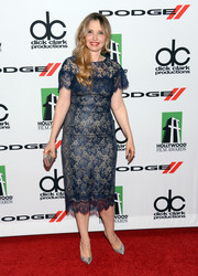 Julie Delpy looked very ladylike in a blue lace cocktail dress during the Hollywood Film Awards.