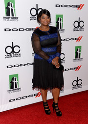 Octavia Spencer chose a blue and black Tadashi Shoji cocktail dress for her Hollywood Film Awards red carpet look.