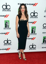 Sandra Bullock went to the Hollywood Film Awards wearing a pair of ultra-sexy black ankle-tie sandals.