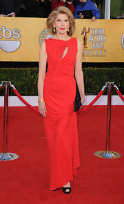 Christine was ravishing in a long red evening dress with a diagonal key-hole neckline at the SAG Awards.