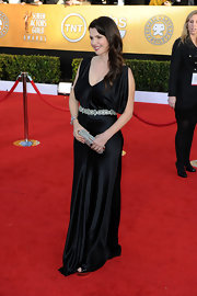 Julia Ormond added glamour to her SAG Awards look with a silver beaded clutch.