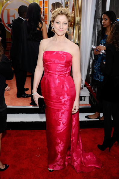 Edie was shining at the SAG Awards in a strapless brocade evening dress with a vintage train.