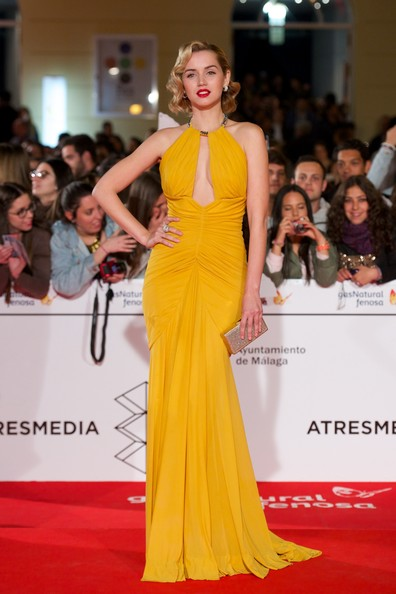 More Pics of Ana de Armas Statement Ring (1 of 33) - Ana de Armas Lookbook - StyleBistro [por un punado de besos,fashion model,dress,red carpet,gown,clothing,shoulder,hair,carpet,yellow,flooring,ana de armas,spanish,cervantes theater,malaga,malaga film festival,premiere]