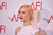 Saoirse Ronan wore her hair in a mildly messy chignon at the 2018 AFI Awards.