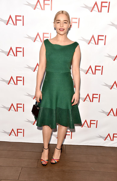 Emilia Clarke polished off her look with a pair of multicolored peep-toe heels by Christian Louboutin.