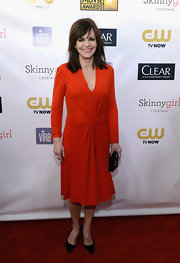 Sally Field wore a simple long-sleeve dress in a bright orange hue for the Critics' Choice Awards.
