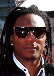 Chris Johnson showed off his stylish side in black square shades.