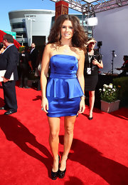 Danica wore long, teased waves with a strapless blue cocktail dress.