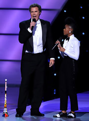 Will Ferrell performed in a classic tuxedo.