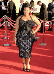 At te 2012 SAG Awards, Amber topped off her lacy black frock with black sandals.