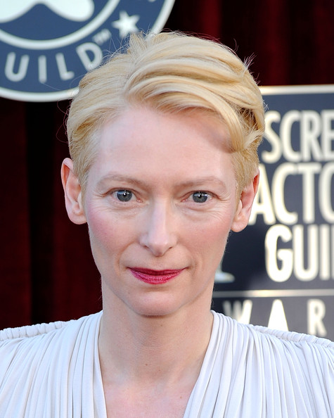 More Pics of Tilda Swinton Short Side Part (1 of 4) - Short Hairstyles Lookbook - StyleBistro [red carpet,hair,face,hairstyle,blond,eyebrow,forehead,lip,chin,beauty,nose,tilda swinton,screen actors guild awards,california,los angeles,the shrine auditorium,18th annual screen actors guild awards]