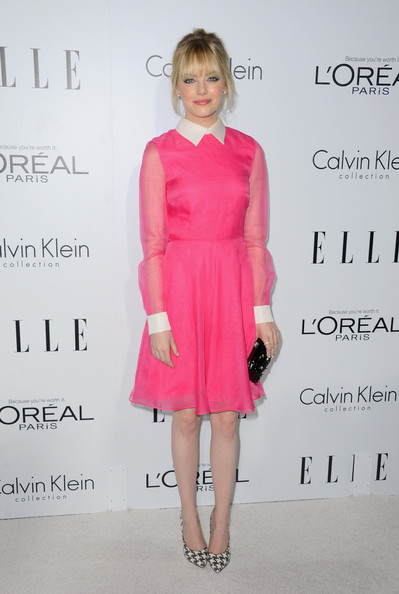 More Pics of Emma Stone Pink Lipstick (1 of 22) - Emma Stone Lookbook - StyleBistro