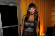 Serena Williams Is Elegant in a Black Strapless Gown at Elton's Oscar Party
