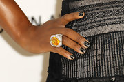 Serena Williams sported a fierce manicure to the Elton John AIDS foundation party. The crackle laquer from OPI gives off a unique finish.