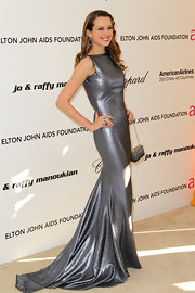 Petra Nemcova paired her floor-length gown with a sparkling cocktail ring to the Elton John AIDS Foundation's viewing party.