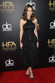 Carey Mulligan sported a feminine silhouette in a tiered, crisscross-neckline LBD by Erdem during the Hollywood Film Awards.