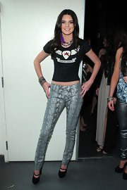 Models love snakeskin leggings. So edgy!