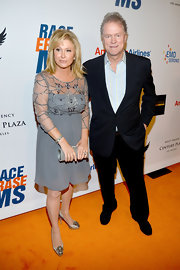 Kathy Hilton attended the Race to Erase MS wearing a gray cocktail dress with a beaded sheer bodice.