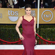 Idina Menzel Wore a Paneled Burgundy Gown at the 2013 SAG Awards