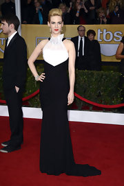 January Jones defined statuesque with this heightening 'do and regal black-and-white gown.