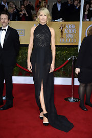 Jenna was statuesque on the SAG red carpet in this black gown with subtle sheerness.
