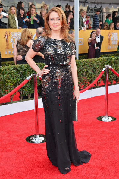Jenna Fischer in Sparkling Jenny Packham at the 2013 SAG Awards