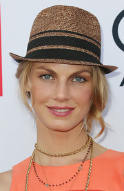 Angela Lindvall went for a fun summer look with this straw hat at the Children Mending Hearts Style Sunday.