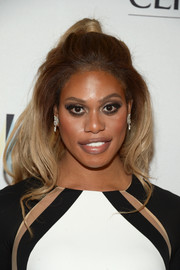 Laverne Cox styled her hair into a high-volume half-up 'do for the Marie Claire Young Women's Honors.