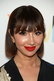 Jackie Cruz looked demure wearing her hair tucked behind her ears during the Marie Claire Young Women's Honors.