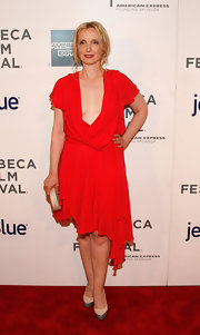 Julie Delpy paired her sexy frock with a pair or two tone pumps.