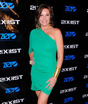 LuAnn de Lesseps flaunted her fit form in a striking sea-green one shouldered dress at a 2(X)ist event during New York Fashion Week 2011.