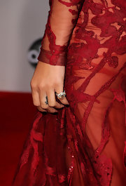 Rihanna paired her elegant Elie Saab dress with a diamond ring.