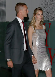Beatrice Borromeo's silver sequin cocktail dress shimmered in the light as she stepped out for an evening in Milan.