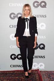 Lara makes homage to menswear in her black pantsuit at GQ's Men of the Year Awards in Sydney.