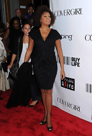 Whitney Houston wore a pair of black peep-toes at the Keep a Child Alive Black Ball.