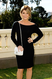 Natalie Bassingthwaighte was spotted at the Melbourne Fashion Festival wearing an off-the-shoulder LBD.