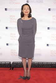 Ann Curry opted for a simple look with this gray sheath dress and matching cardigan at the Ripple of Hope Awards.