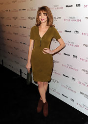 Jayma Mays kept her Burberry Prorsum dress casual with cognac colored Brian Atwood boots. The suede Chance boots matched the Glee star's auburn tresses.