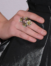 Ashley Bell added some interest to her look with a decadent flower ring, complete with yellow gemstones.