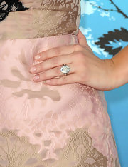 Ashley paired her embroidered dress with a sparkling diamond ring.