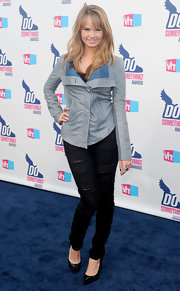 Debby Ryan paired her ripped jeans with a sky-blue leather jacket and black pumps.