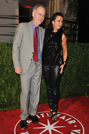 Patty Smyth sported a glitzy ensemble at the Vanity Fair Oscar party, consisting of a sequined blouse and shimmery leggings.